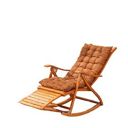 L&J Chaise Lounges,Rocking Chair Patio Lounger Chair Old Man Bamboo Folding Chairs Summer Na ...