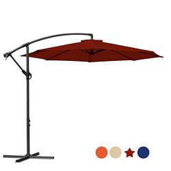 MASVIS 10 Ft Offset Cantilever Umbrella Outdoor Table Market Hanging Patio Umbrellas & Crank ...