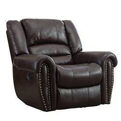 BONZY Manual Stretched Recliner Chair Leather Cover Living Room Lounge Chair – Brown