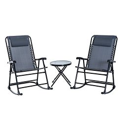 Outsunny 3 Piece Outdoor Rocking Chair Patio Table Seating Set Folding – Grey
