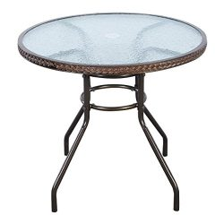 Tangkula 31 1/2″ Brown Patio Rattan Round Table Tempered Glass Furniture Outdoor Coffee Dining