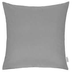 Homey Cozy Outdoor Throw Pillow Cover, Classic Solid Light Gray Large Pillow Cushion Water/UV Fa ...