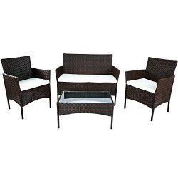 Merax 4 PCS Patio Furniture Set Outdoor Garden Conversation Set (Cushion Beige)