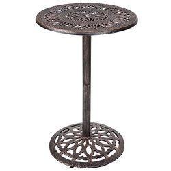"Costway Cast Aluminum Bar Table 41"" Vintage Round Outdoor Patio Bistro Table"