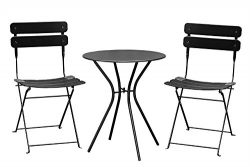 Living Express Outdoor Furniture Set 3 Piece Bistro Set, Foldable Table And 2 Chairs Set,Steel B ...