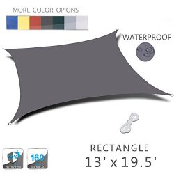 LOVE STORY 13′ x 19.5′ Rectangle Charcoal Waterproof Sun Shade Sail Perfect for Outd ...