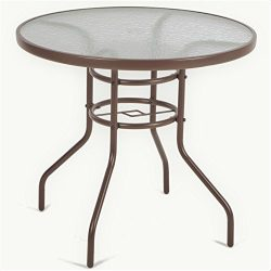 LUCKUP 32″ Patio Outdoor Dining Table Tempered Glass Top Umbrella Stand Round Table, Brown