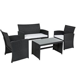 Best Choice Products Outdoor Garden Patio 4pc Cushioned Seat Black Wicker Sofa Furniture Set