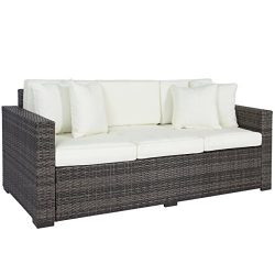 Best Choice Products Outdoor Wicker Patio Furniture Sofa 3 Seater Luxury Comfort Grey Wicker Couch