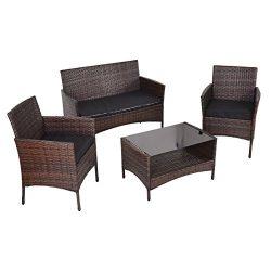 Tangkula 4 PCS Outdoor Furniture Set Patio Garden Lawn Rattan Wicker Sectional Sofa Set with Cus ...