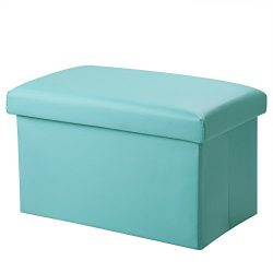 Inoutdoorkit FSL02 Foldable Leather Storage Ottoman Bench Footrest Stool, Coffee Table Cube For  ...