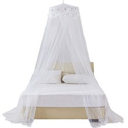 RuiHome Twin Full Queen Bed Hanging Mosquito Net Dome Lace Canopy with Hooked Screw, White Netting