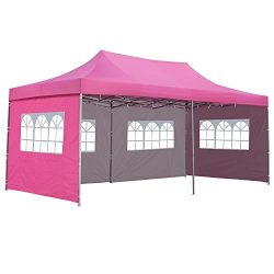 10×20 Ft Pop up Canopy Party Wedding Gazebo Tent Shelter with Removable Side Walls Pink