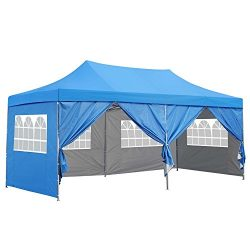10×20 Ft Pop up Canopy Party Wedding Gazebo Tent Shelter with Removable Side Walls Blue
