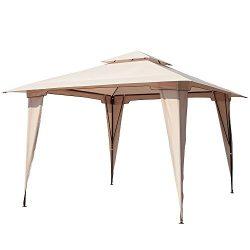 PATIOROMA 11.5 by 11.5 Feet Outdoor Backyard 2-Tier Steel Soft Top Patio Gazebo, Beige