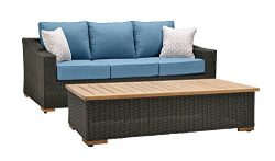 La-Z-Boy Outdoor New Boston Resin Wicker Patio Furniture Sofa with Pillows and Coffee Table, Den ...