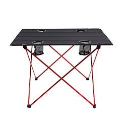 OUTRY Lightweight Folding Table with Cup Holders, Portable Camp Table (L – Unfolded: 29.5& ...