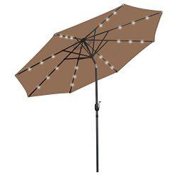 BBBuy Patio 10′ Patio Umbrella with Solar Powered 24 LED Lights Market Outdoor Umbrella wi ...