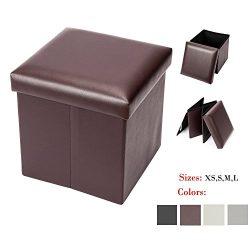 Bonnlo Leather Folding Organizer Seat Storage Ottoman Bench, Footrest Stool Coffee Table Cube Po ...