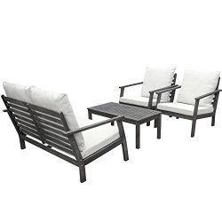 VIFAH V1808SET1 Renaissance Outdoor Patio Sofa Set, Hand-Scraped Wood