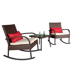 Cloud Mountain Outdoor 3 Piece Rocking Chair Set Wicker Rattan Bistro Set Wicker Furniture ̵ ...