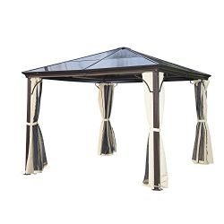 Outsunny 10' x 10' Aluminum Hardtop Gazebo w/ Curtains and Nets- Black/Brown/Beige