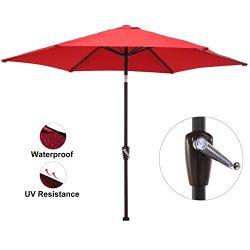 LCH 9 Ft Round Outdoor Market Patio Umbrella Aluminum Table Umbrella with Push Button Tilt and C ...