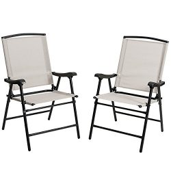 Marble Field Foldable Fabric Outdoor/ Indoor Sling Chair, Portable Patio Balcony Leisure Dining  ...