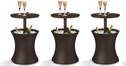 Keter 7.5-Gal Cool Bar Rattan Style Outdoor Patio Pool Cooler Table, Brown (3-Pack)