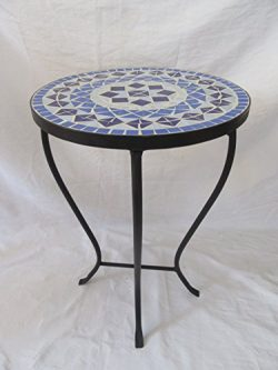 Blue Mosaic Black Iron Outdoor Accent Table 21″H