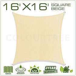 ColourTree 16′ x 16′ Sun Shade Sail Canopy  Square Beige – Commercial Standard ...
