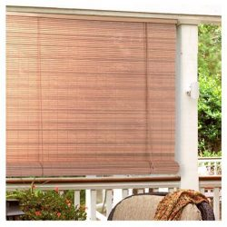 Radiance 0321256 Vinyl PVC Roll Up Blind, Woodgrain, 60 Inch Wide x 72 Inch Long