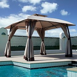 Grand patio Lawn Pop-up Patio Gazebo with Black Metal Steel Frame Outdoor Canopy 11×11 Feet ...