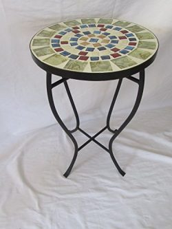 Multi-Colors Mosaic Black Iron Outdoor Accent Table 21″H