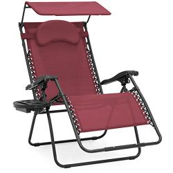 Best Choice Products Oversized Zero Gravity Reclining Lounge Patio Chairs w/ Folding Canopy Shad ...