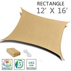 SUNNY GUARD 12′ x 16′ Sand Rectangle Sun Shade Sail UV Block for Outdoor Patio Garden