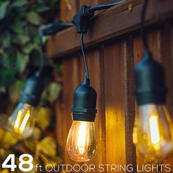 SANSUN 48Ft String Lights with Clear S14 Bulbs, UL listed Backyard Patio Lights, Hanging Indoor/ ...