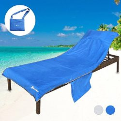Youlerbu Beach Chair Cover,Pool Lounge Chair Towel Beach Towel with Side Pockets Extra Thick (Bl ...