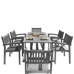 VIFAH V1300SET12 Outdoor Patio 7 Piece Dining Set with Stacking Chairs, Hand-Scraped Wood