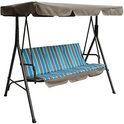 Kozyard Alicia Patio Swing Chair with 3 Comfortable Cushion Seats and Strong Weather Resistant P ...
