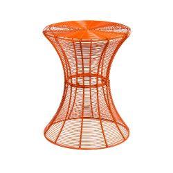 SEI 18.5-Inch Indoor/Outdoor Round Metal Accent Table, Orange