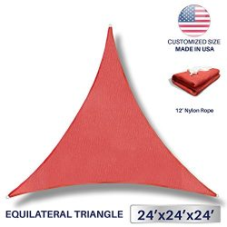 Windscreen4less 24′ x 24′ x 24′ Sun Shade Sail Canopy in Rust Red with Commerc ...