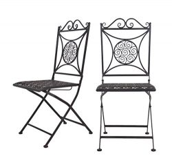 VILAVITA 16.5″ Height Foldable Dining Chairs, Metal Bistro Chairs Set of 2