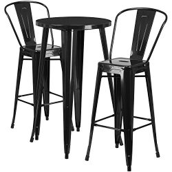 "Flash Furniture 24"" Round Black Metal Indoor-Outdoor Bar Table Set with 2 Cafe Stools"