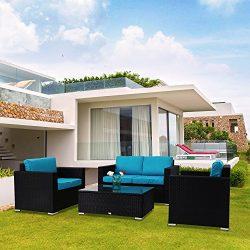 Kinbor New 4 PCs Rattan Patio Outdoor Furniture Set Garden Lawn Sofa Sectional Set Black