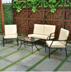 Metal Patio Furniture Set With Beige Cushions Sofa Chairs Table 4pc Conversation