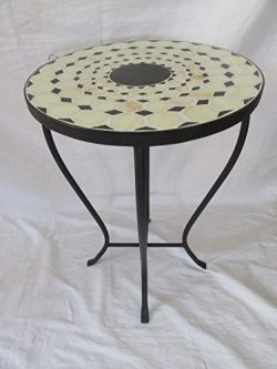 Beige / Black Mosaic Black Iron Outdoor Accent Table 21″H