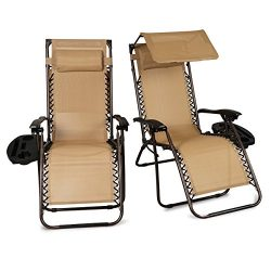 Belleze Zero Gravity Chairs (2) Set Lounge Patio Chairs with Canopy Cup Holder, Beige