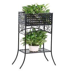 Topeakmart Metal Plant Stands Indoor/Outdoor Flower Pot/Potted/Planter Rack with Storage Shelf B ...