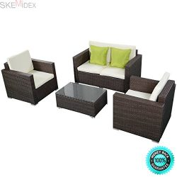 SKEMIDEX—4PC Patio Rattan Set Wicker Furniture Conversation Set Sofa Cushioned Chair Glass ...